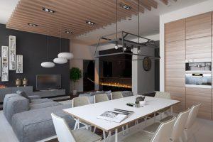 Деревянная гостиная в современном стиле